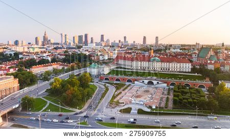 Warsaw, Poland - July 21, 2018. Aerial Drone View From Above Of City Center Skyline And Old Town Wit