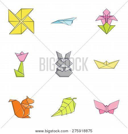 Paper Toylike Icons Set. Cartoon Set Of 9 Paper Toylike Icons For Web Isolated On White Background