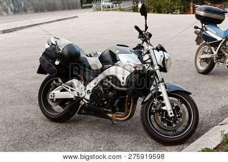 Barcis, Pordenone, Italy - August 12, 2018: A Motorcycle Is Parked In A Parking Lot.