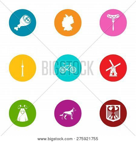 Male Employment Icons Set. Flat Set Of 9 Male Employment Icons For Web Isolated On White Background