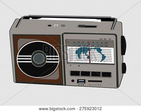 Vector Illustration Of Old Fashioned Shortwave Radio