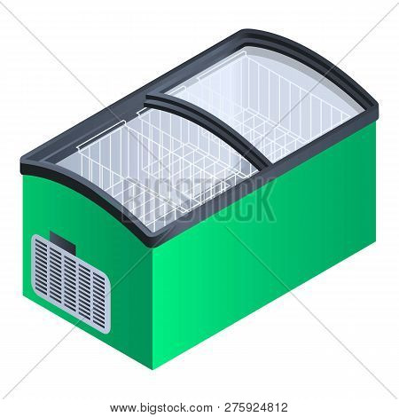 Green Commercial Fridge Icon. Isometric Of Green Commercial Fridge Icon For Web Design Isolated On W