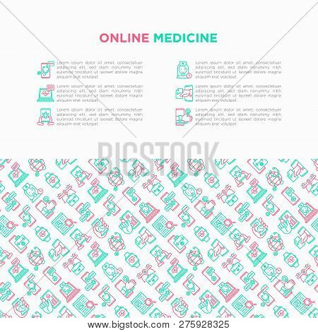 Online Medicine, Telemedicine Concept With Thin Line Icons: Pill Timer, Ambulance Online, Medical Dr