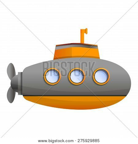 Ocean Submarine Icon. Cartoon Of Ocean Submarine Icon For Web Design Isolated On White Background
