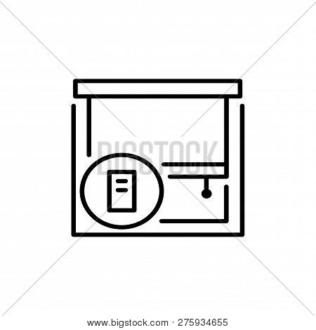 Black & White Vector Illustration Of Roller Blind Shutter. Line Icon Of Window Jalousie With Remote