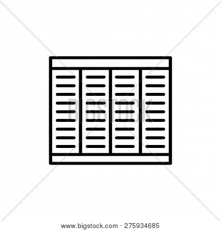 Black & White Vector Illustration Of Bamboo Wood Roller Curtain Shutter. Line Icon Of Window Horizon