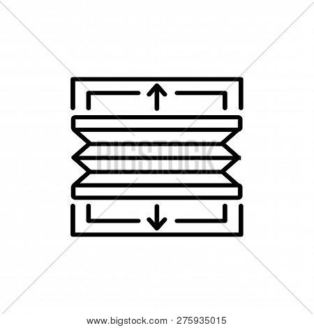 Black & White Vector Illustration Of Pleated Top Down Bottom Up Shades Blinds. Line Icon Of Window H