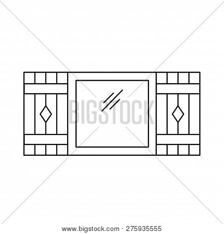 Black & White Illustration Of Old Window Shutter. Vector Line Icon Of Wooden Vintage Outdoor Jalousi