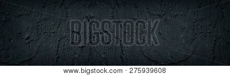 Black Cement Plaster Smears Wide Panoramic Texture. Dark Concrete Wall Background