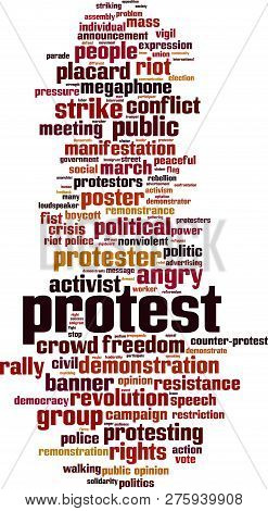 Protest Word Cloud Concept. Vector Illustration On White