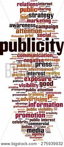 Publicity Word Cloud Concept. Vector Illustration On White