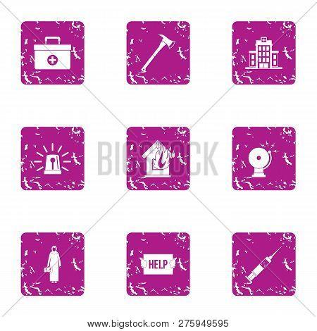 Emergency Agency Icons Set. Grunge Set Of 9 Emergency Agency Icons For Web Isolated On White Backgro