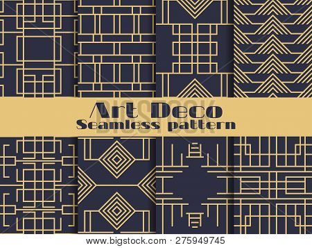 Art Deco Seamless Pattern. Set Retro Backgrounds, Gold And Black Color. Style 1920's, 1930's. Lines