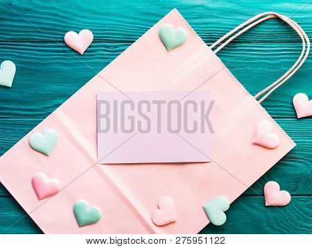 Pink Blank Card On Shopping Bag With Hearts. Giving Presents, Holiday Shopping Concept. Valentine Mo