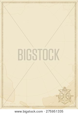 Old Vintage Paper With Icon Of Ship Anchor And Helm. Vector Illustration On The Theme Of Travel, Adv