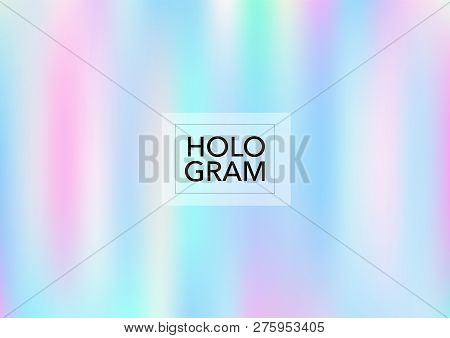 Girlie Hologram Gradient Vector Background. Luxury Trendy Tender Pearlescent Glam Overlay. Cool Colo