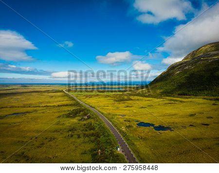 Gimsoya Island Landscape In Vagan Municipality Nordland County, Lofoten Archipelago Norway. Tourist