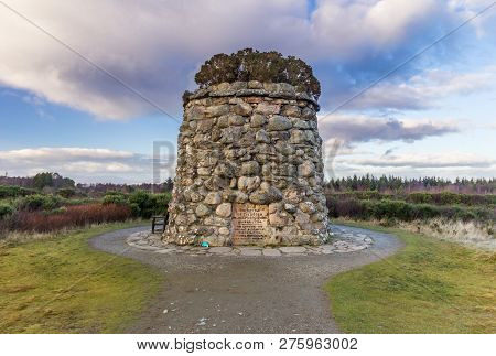 Memorial Cairn Commemorating The Lives Lost On Culloden Battlefield, Scotland, On 16 April 1746.