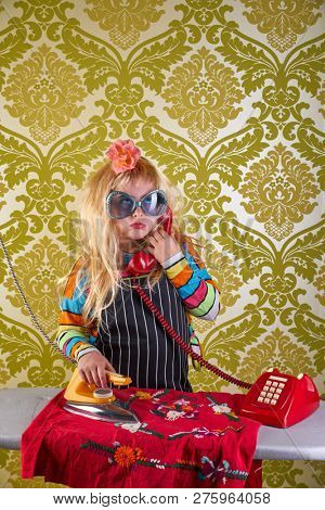 Sad housewife kid girl iron chores talking at red retro phone vintage humor poster
