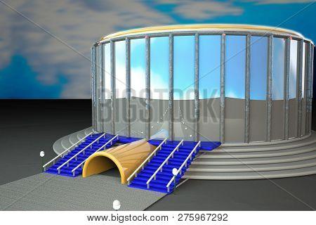 Sport Arena Under Blue Sky