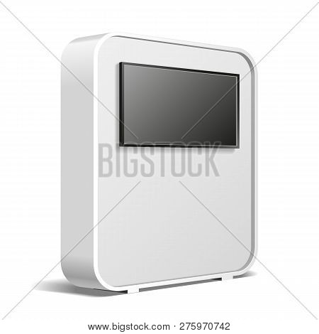 Rounded Pos Poi Blank Empty Advertising Retail Stand Stall Bar Display, Banner, Display, Screen. On
