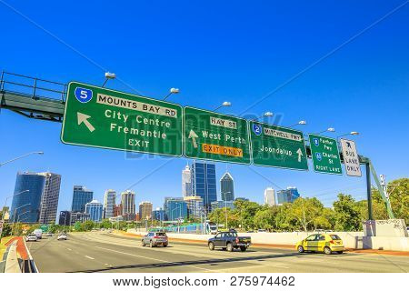 Perth, Western Australia - Jan 3, 2018: Perth Highway Road Sign Of Fremantle City Center, West Perth