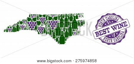 Vector Collage Of Grape Wine Map Of North Carolina State And Grunge Stamp For Best Wine. Map Of Nort