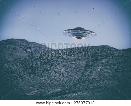 Unidentified Flying Object Ufo. Old Style Photo With High Iso Noise And Dirt With Scratches Over Tim
