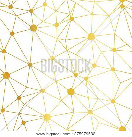 Gold White Dots Network Vector Seamless Pattern. Great For Technology Inspired Wallpaper, Background