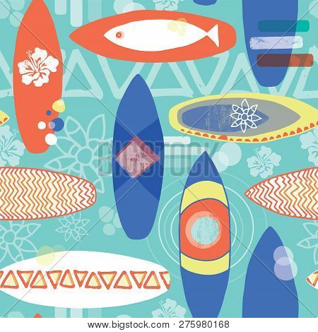 Retro Inspired Surfboards Seamless Repeat Pattern. Orange, White, Blue Surfboards On A Light Blue Ba