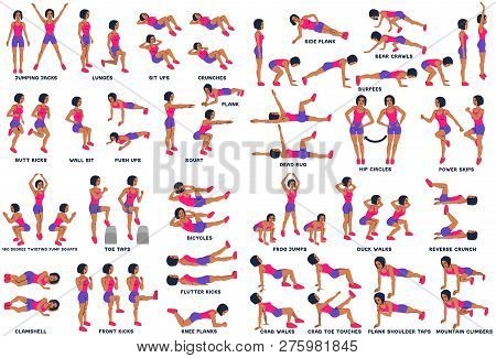 Sport Exersice. Silhouettes Of Woman Doing Exercise. Workout, Training.