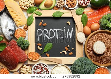 Chalkboard With Written Word Protein Among Natural Food, Top View