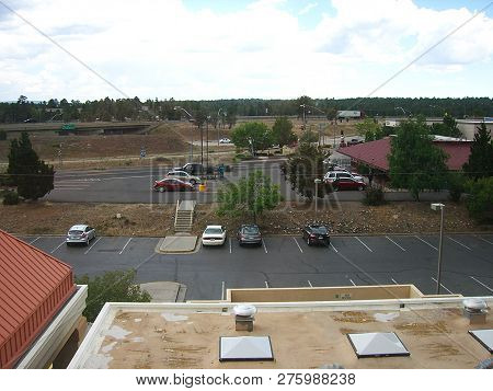 Flagstaff, Arizona - June 27: Early Afternoon Motel Parking Lots Before The Night`s Guests Arrive On