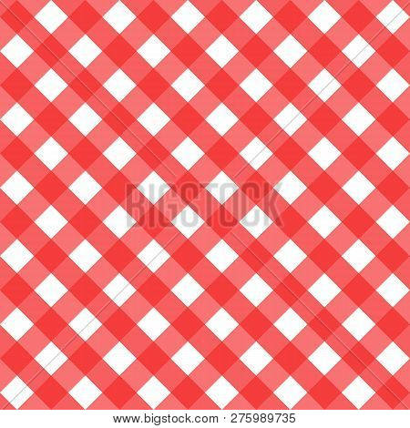 Checkered Seamless Pattern Texture Red And White. Vector Diagonal Cell Holiday Surface Design Backgr