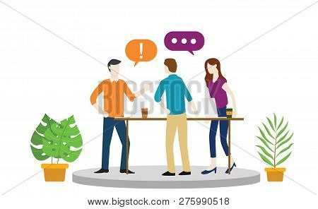 Team Office Debate Or Argument About Something With Angry Emotion Or Hot Situation Vector Illustrati