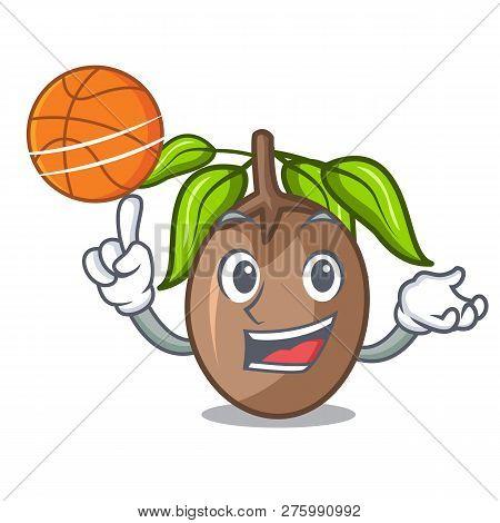 With Basketball Sapodilla Fruit On The Character Bowl