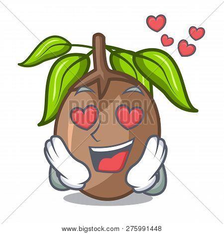 In Love Sapodilla Fruit Cut In Shape Cartoon
