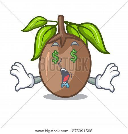 Money Eye Slice Sapodilla Fruit On Shape Cartoon