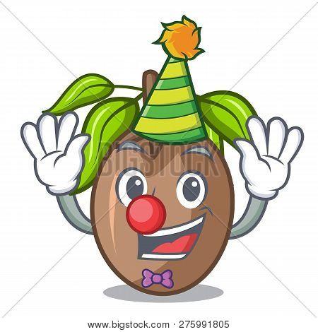 Clown Slice Sapodilla Fruit On Shape Cartoon