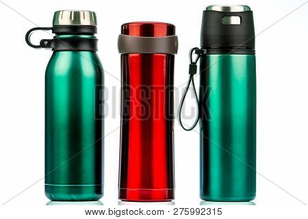 Thermos Bottle Isolated On White Background. Coffee Or Tea Reusable Bottle Container. Thermos Travel