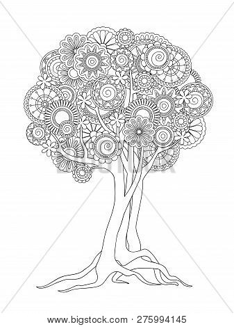 Hand Drawn Patterned Tree Crown In Zen Tangle Style. Isolated Image For Adult Anti-stress Coloring B