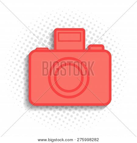 Abstract Vector Icon Design Of Photocamera In Coral Color.