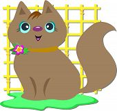 This cute Brown Cat is posing in front of a yellow grid. poster