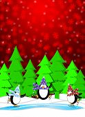 Three Penguins Skating in Ice Rink Snowing Winter Scene Illustration Red Background poster