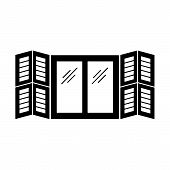 Black & white illustration of old window tier on tier shutter. Vector flat icon of wooden vintage outdoor jalousie. Isolated object on white background poster