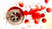 blood drain bathroom sink. white washbasin in the blood drops poster