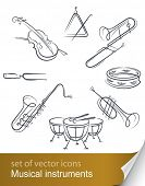 set musical instrument vector illustration isolated on white background poster