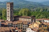 Aerial view of the ancient town of Lucca with the Basilica of San Frediano (XII century). Toscana (Tuscany), Italy, Europe poster