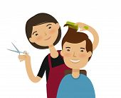 Hairstylist cutting hair. Mens hairstyle, beauty saloon concept. Funny cartoon vector illustration poster