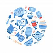 Crockery ceramic cookware. Blue porcelain bowls, dishes and plates isolated on white background. Vector cookware and crockery, dish ceramic, utensil and kitchenware illustration poster